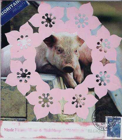 cochon fleuri